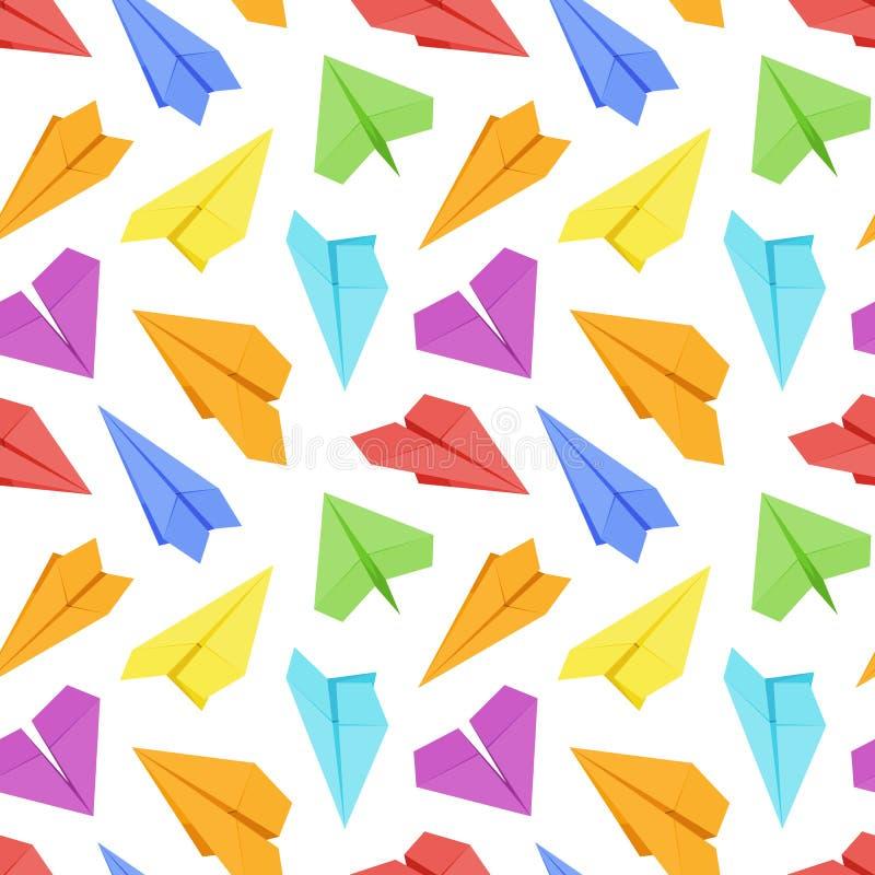 Naadloos patroon met gekleurde document vliegtuigen vector illustratie