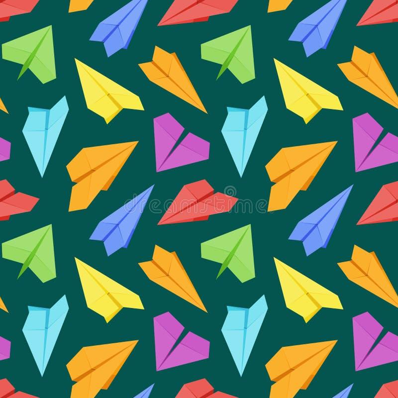 Naadloos patroon met gekleurde document vliegtuigen tegen stock illustratie