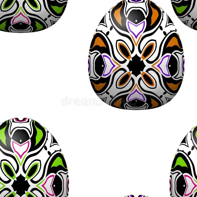 Naadloos patroon met gekleurde gevormde paaseieren royalty-vrije illustratie