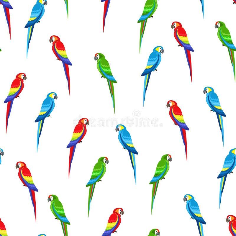 Naadloos patroon met gekleurde papegaaien stock afbeelding