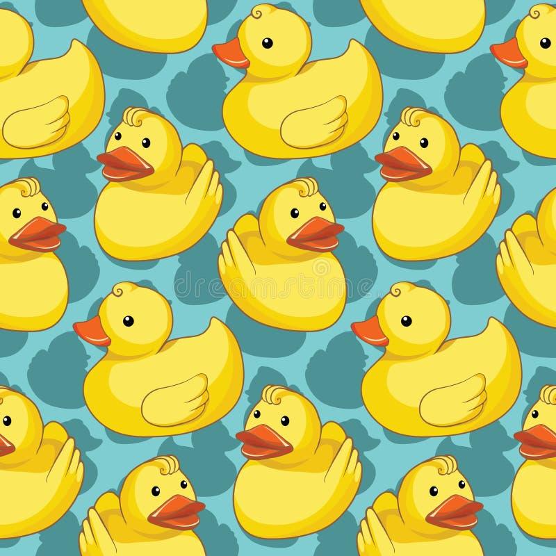 Naadloos patroon met gele eenden stock illustratie