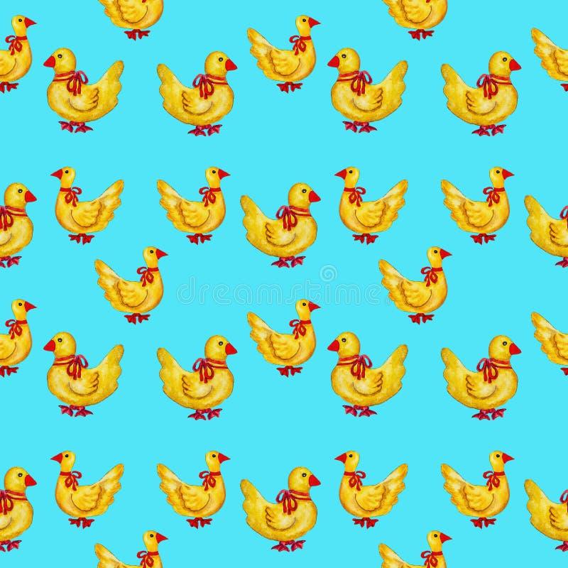 Naadloos patroon met gele eenden met rode poten royalty-vrije illustratie