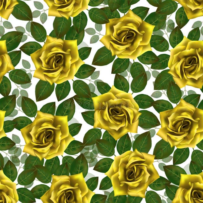 Naadloos patroon met gele rozen Mooie realistische bloemen met bladeren Photorealixtic nam knop toe, schone hoog gedetailleerde v vector illustratie