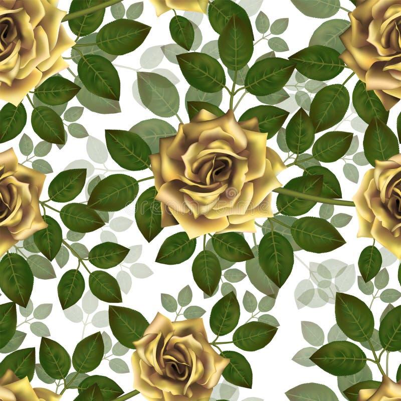 Naadloos patroon met gele rozen Mooie realistische bloemen met bladeren Photorealixtic nam knop toe, schone hoog gedetailleerde v stock illustratie