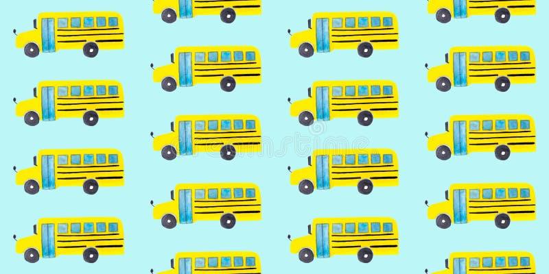 Naadloos patroon met gele schoolbus op blauwe achtergrond vector illustratie