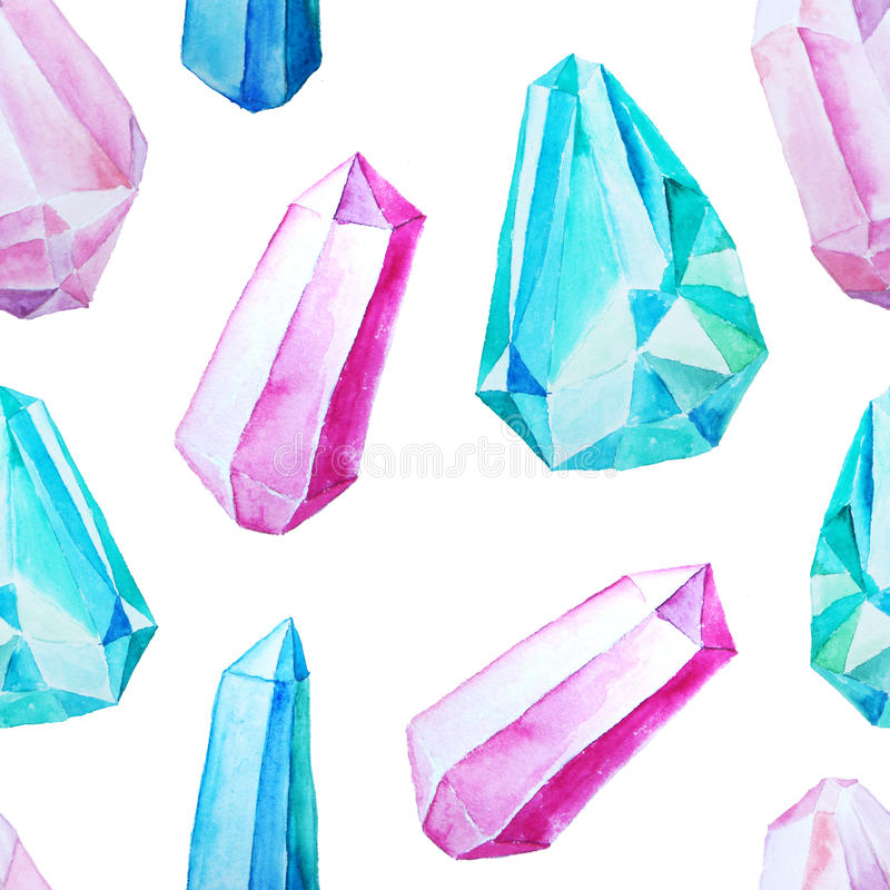 Naadloos patroon met gemmen en kristallen