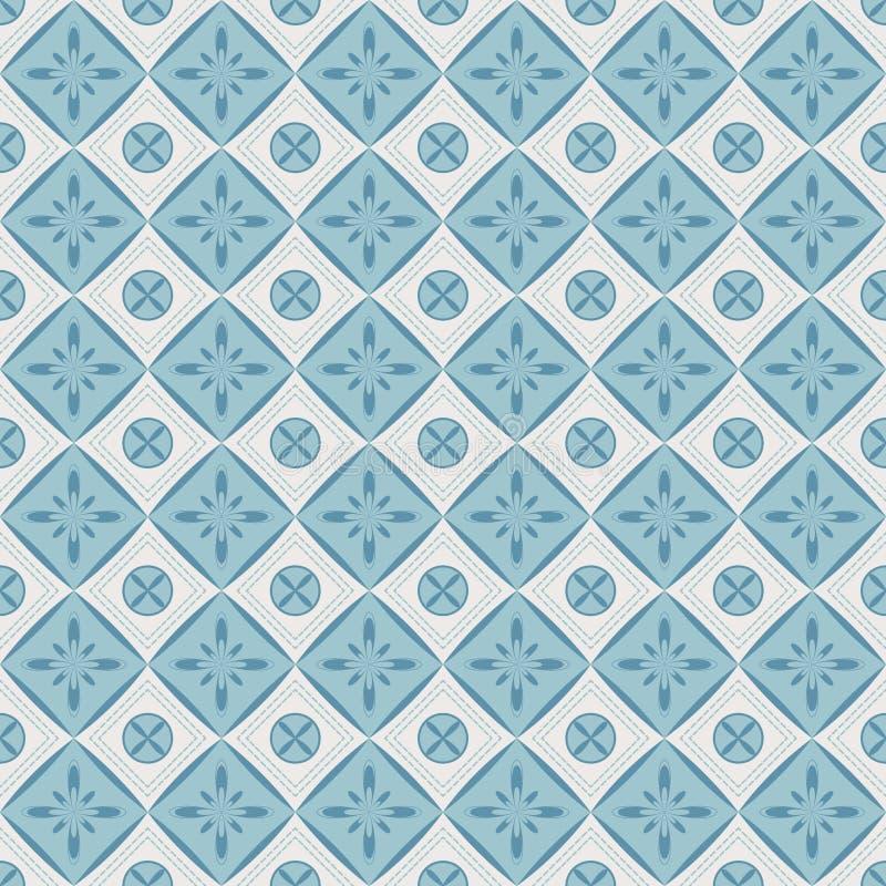 Naadloos patroon met geometrische diamantvormen en bloemen. royalty-vrije illustratie
