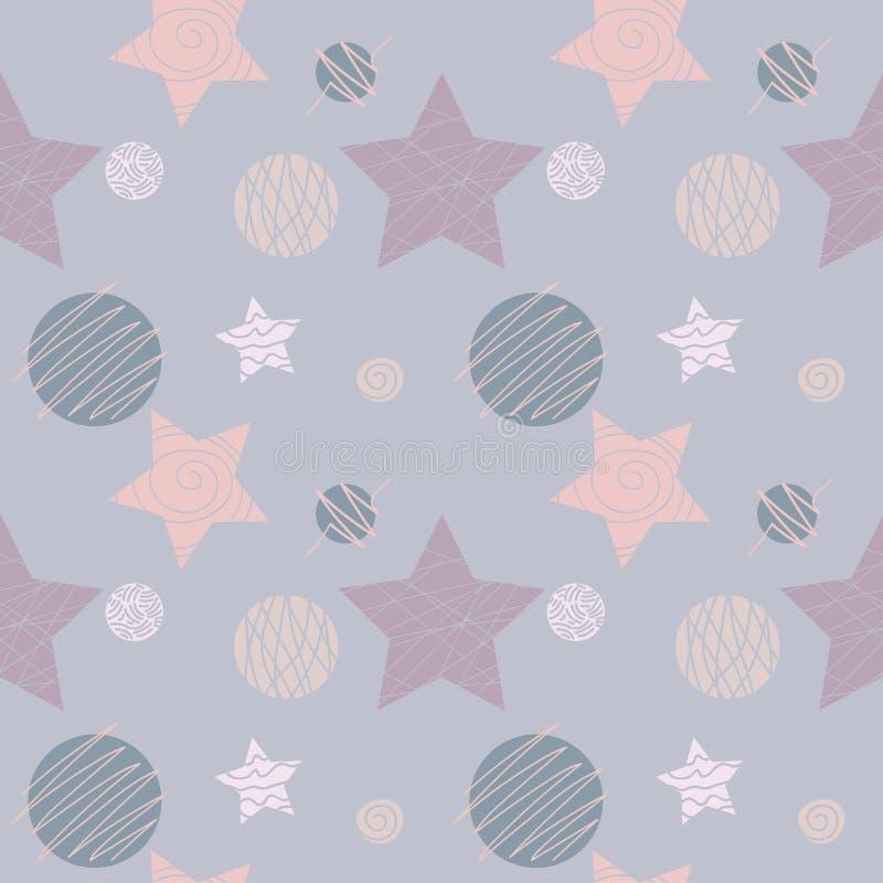 Naadloos patroon met geometrische ornament, sterren en cirkels vector illustratie