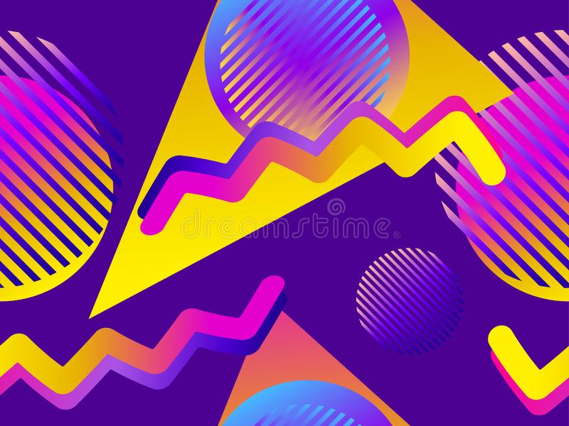 Naadloos patroon met geometrische voorwerpen in de stijl van Memphis van de jaren '80 Gradiëntvormen Synthwave retro achtergrond  stock illustratie
