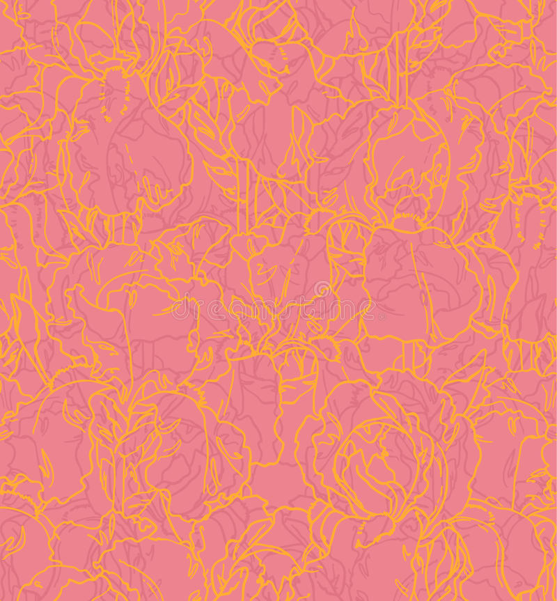 Naadloos patroon met geschetste irissen royalty-vrije illustratie