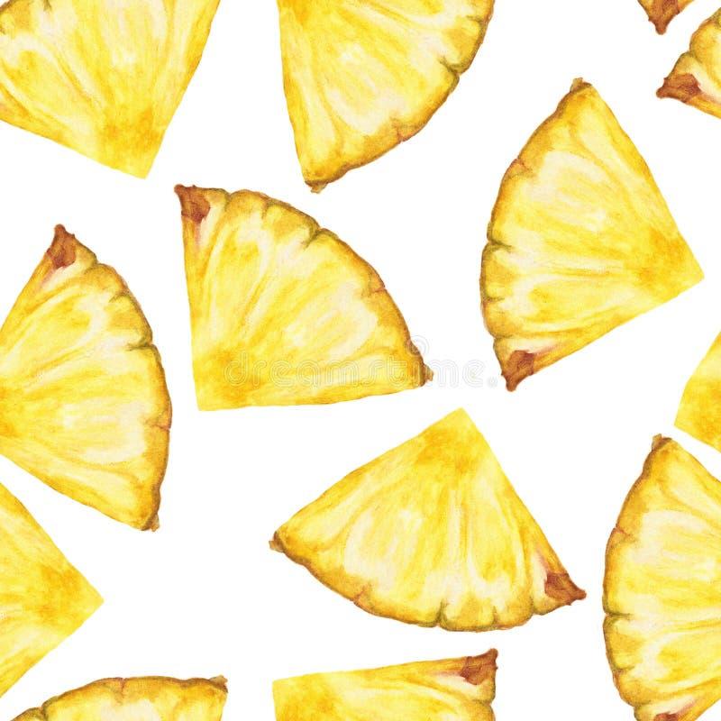 Naadloos Patroon met gesneden ananas op witte achtergrond vector illustratie