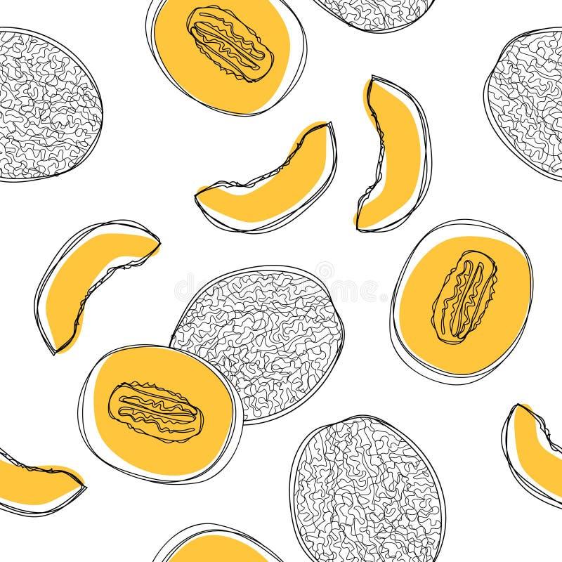 Naadloos patroon met gesneden Japanse meloenen, oranje die meloen of kantaloepmeloen op witte achtergrond worden geïsoleerd Vecto vector illustratie