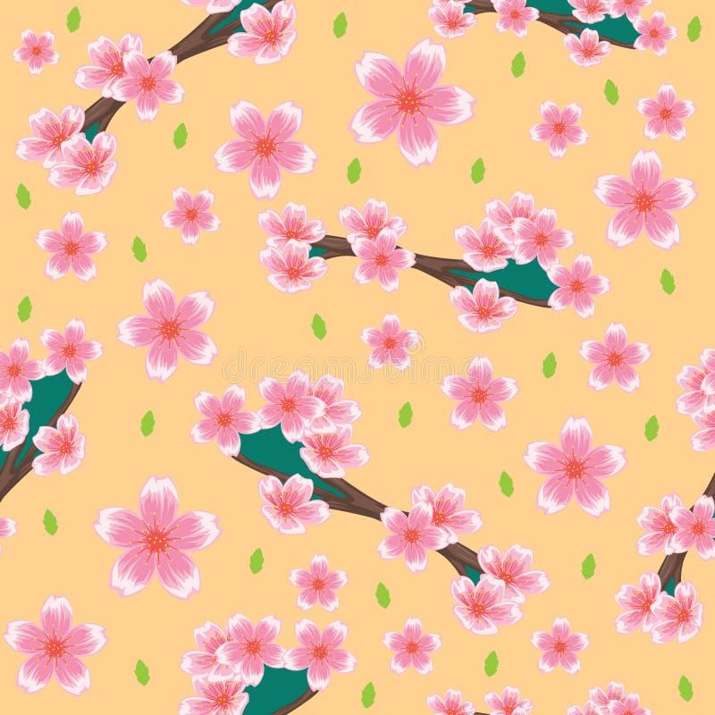 Naadloos patroon met gestamde bloemmotieven Patroonachtergrond met het ornament van bloesemmotieven stock illustratie