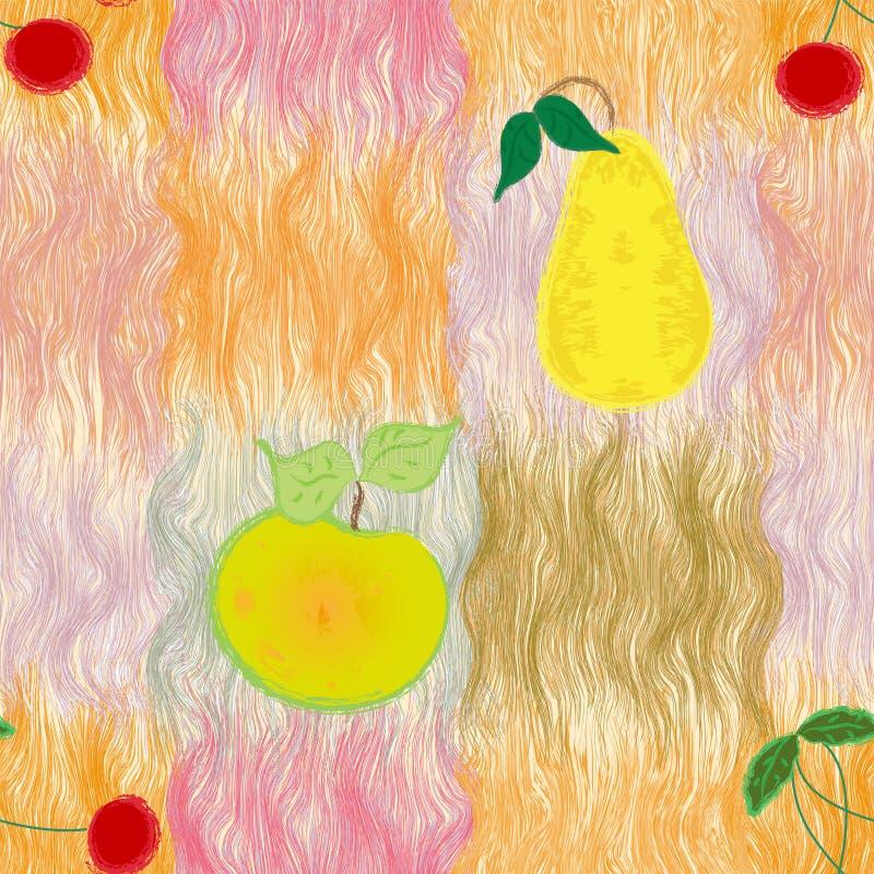 Naadloos patroon met gestileerde appel, peer en kers stock illustratie