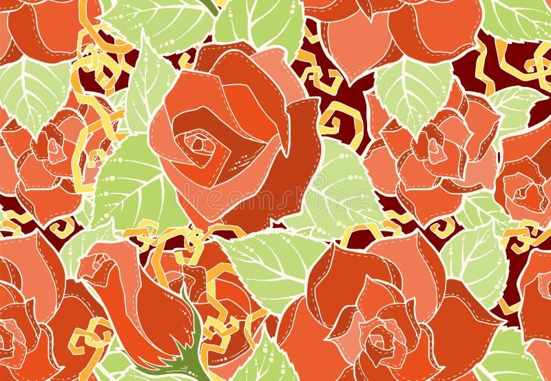 Naadloos patroon met Gestileerde bloemen Etnische achtergrond stock illustratie