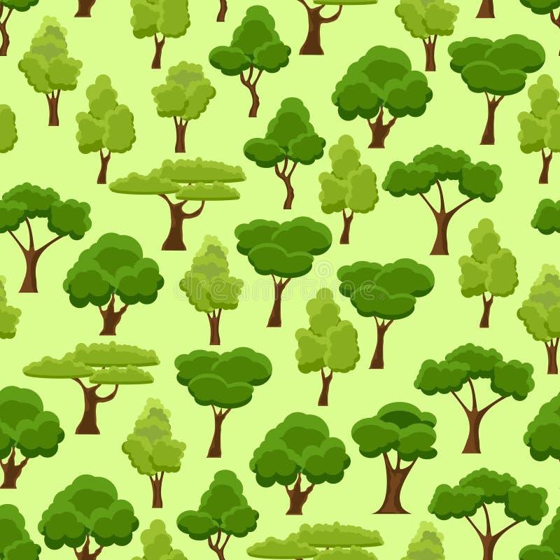 Naadloos patroon met gestileerde bomen De groene boom van de beeldverhaaltuin Aardbos en park De lente of de zomerbomen stock illustratie