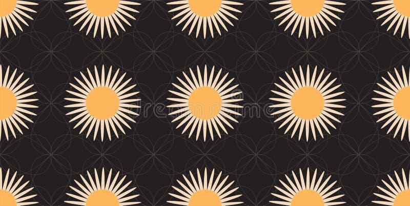 Naadloos Patroon met Gestileerde Daisy Fowers en Witte Lijnen op Zwarte Achtergrond royalty-vrije illustratie