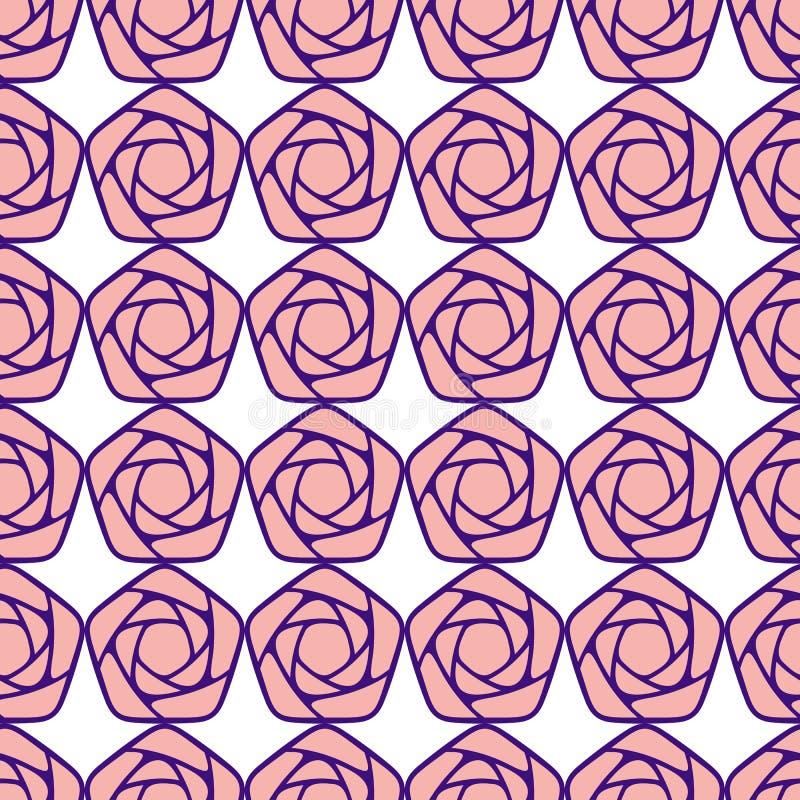 Naadloos patroon met gestileerde rozen royalty-vrije illustratie