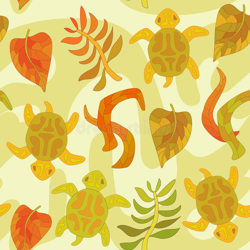Naadloos patroon met gestileerde schildpad en installaties vector illustratie