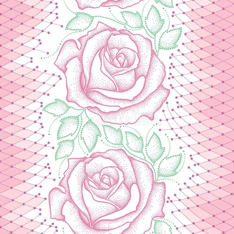 Naadloos patroon met gestippelde roze rozen, groene bladeren en decoratief kant op de witte achtergrond stock illustratie