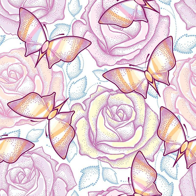 Naadloos patroon met gestippelde rozen, blauwe bladeren en vlinders in pastelkleur op de witte achtergrond stock illustratie