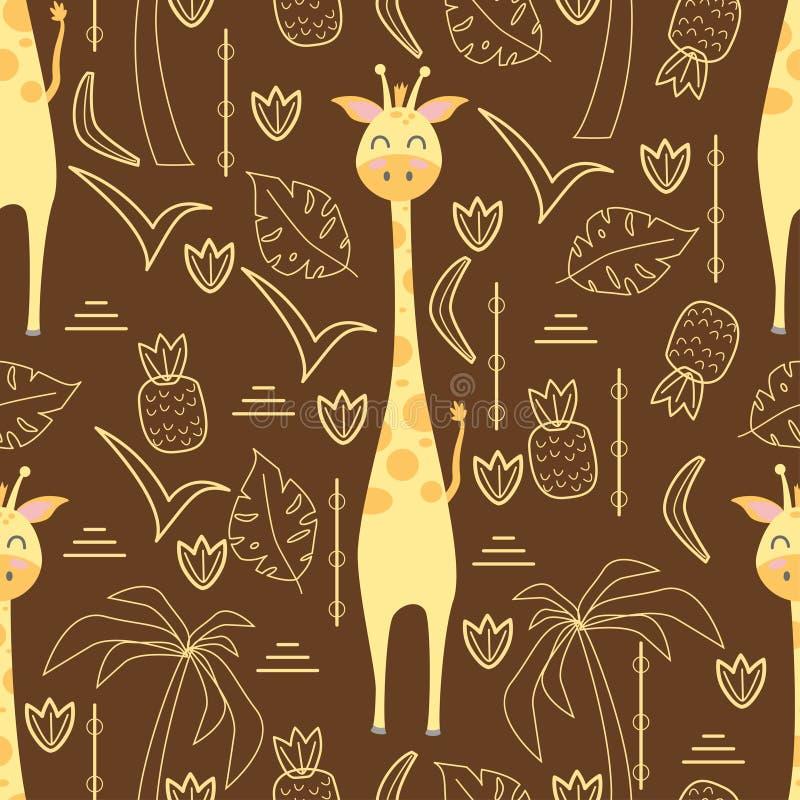 Naadloos patroon met giraf - vectorillustratie, eps royalty-vrije illustratie