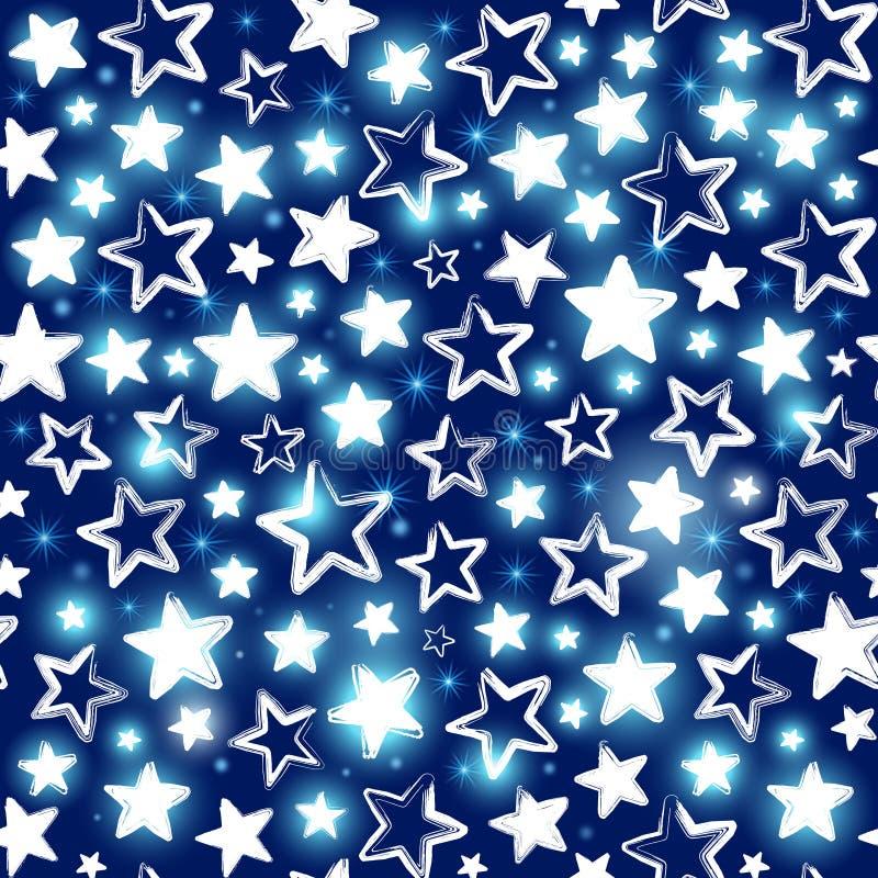 Naadloos patroon met glanzende sterren op blauwe achtergrond royalty-vrije illustratie