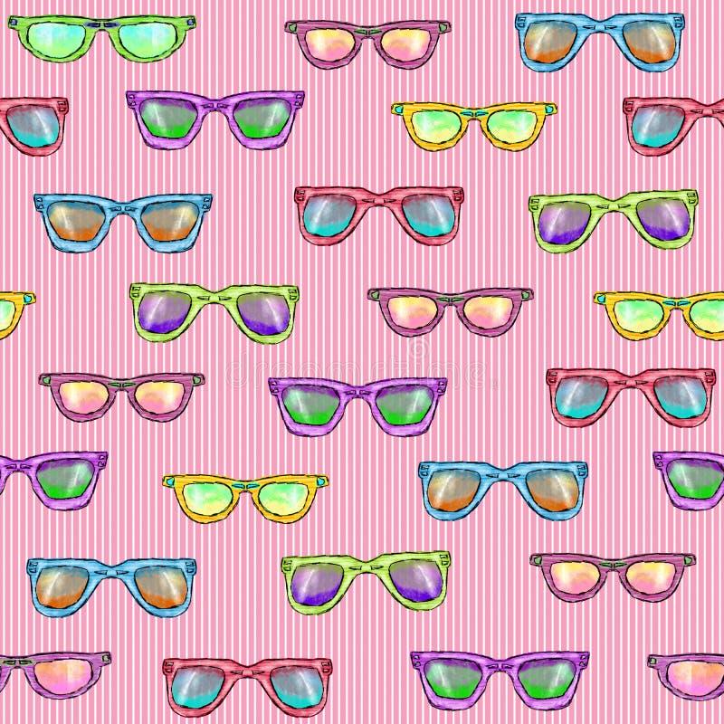 Naadloos patroon met glazen op een roze gestreepte achtergrond vector illustratie