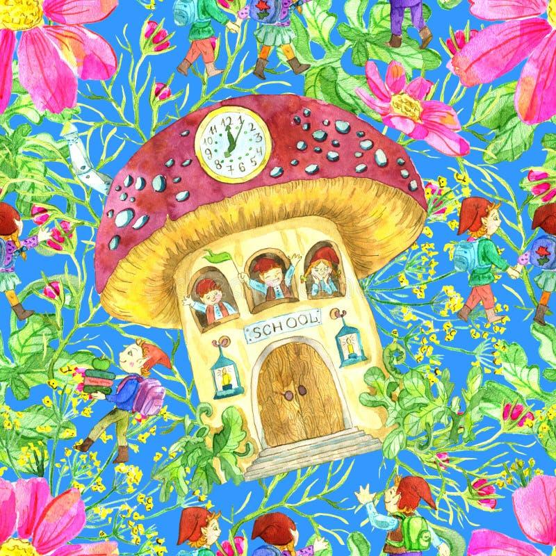 Naadloos patroon met gnoomschool in paddestoel en leerlingen op blauw royalty-vrije illustratie