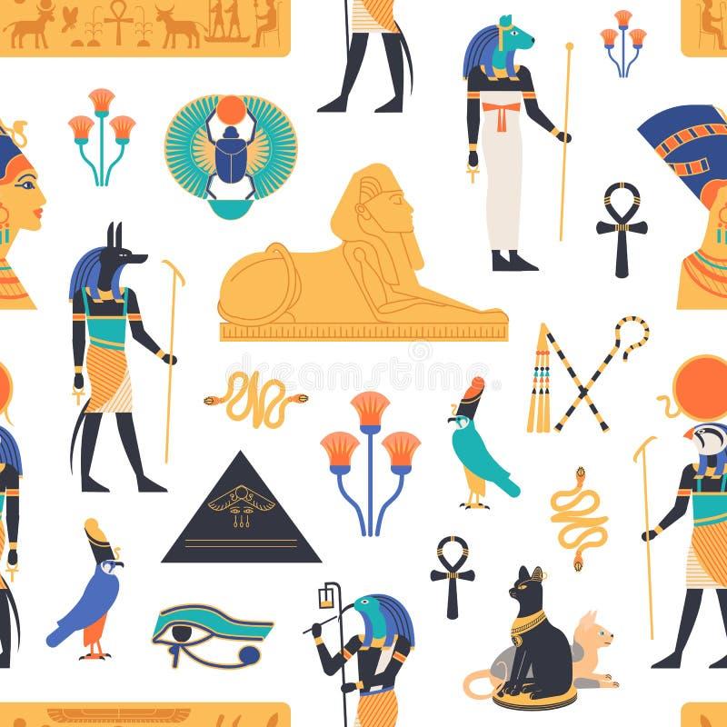 Naadloos patroon met goden, deities en mythologische schepselen van oude Egyptische heilige mythologie en godsdienst, stock illustratie