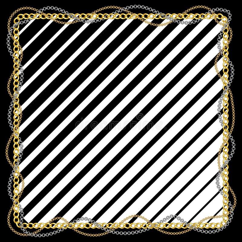 Naadloos patroon met gouden kettingen en zwarte lijnen op witte achtergrond stock illustratie