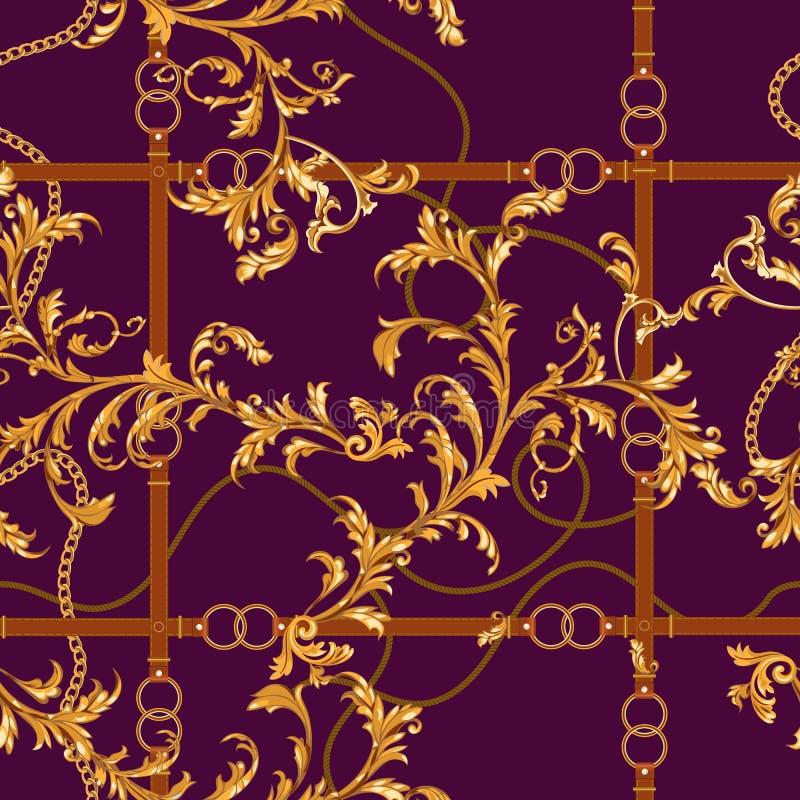 Naadloos patroon met gouden kettingen, riemen en barokke bladeren Vector barok flard voor sjaals, druk, stof stock illustratie