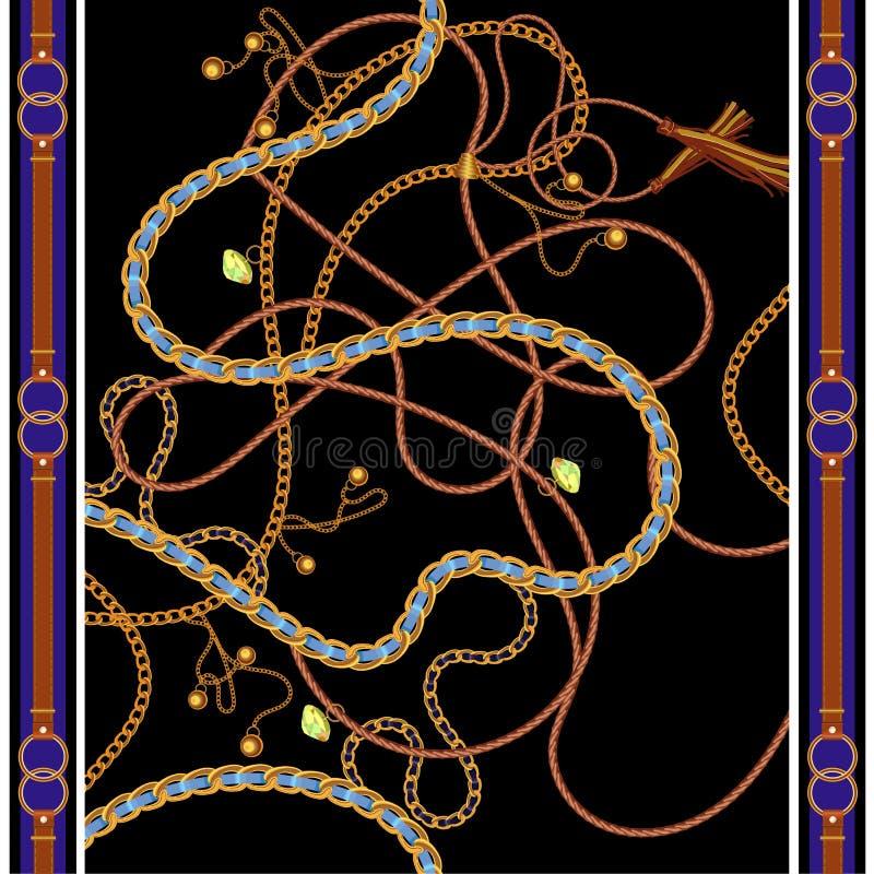 Naadloos patroon met gouden kettingen, riemen en gemmen Vectorsjaal voor manierdruk, stoffenontwerp royalty-vrije illustratie