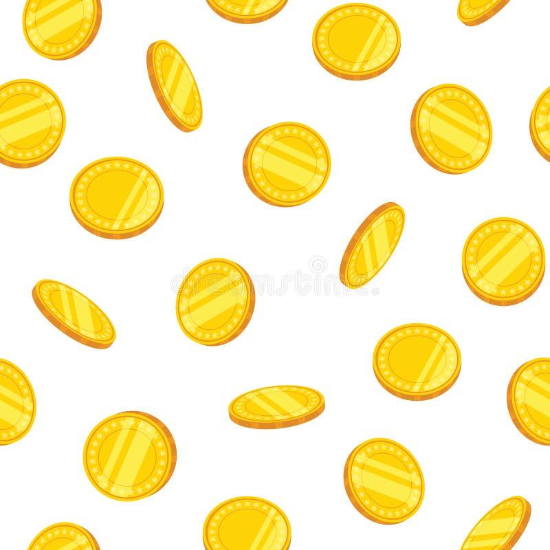 Naadloos patroon met gouden muntstukken Vector illustratie royalty-vrije illustratie
