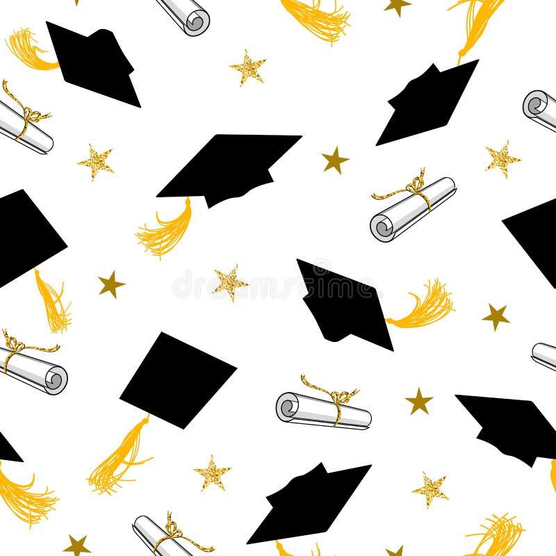 Naadloos Patroon met Graduatiekappen en Gouden Sterren stock illustratie
