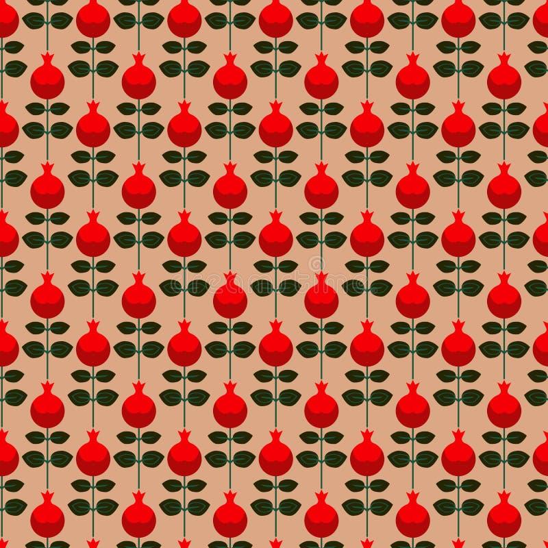 Naadloos patroon met granaatappel stock illustratie