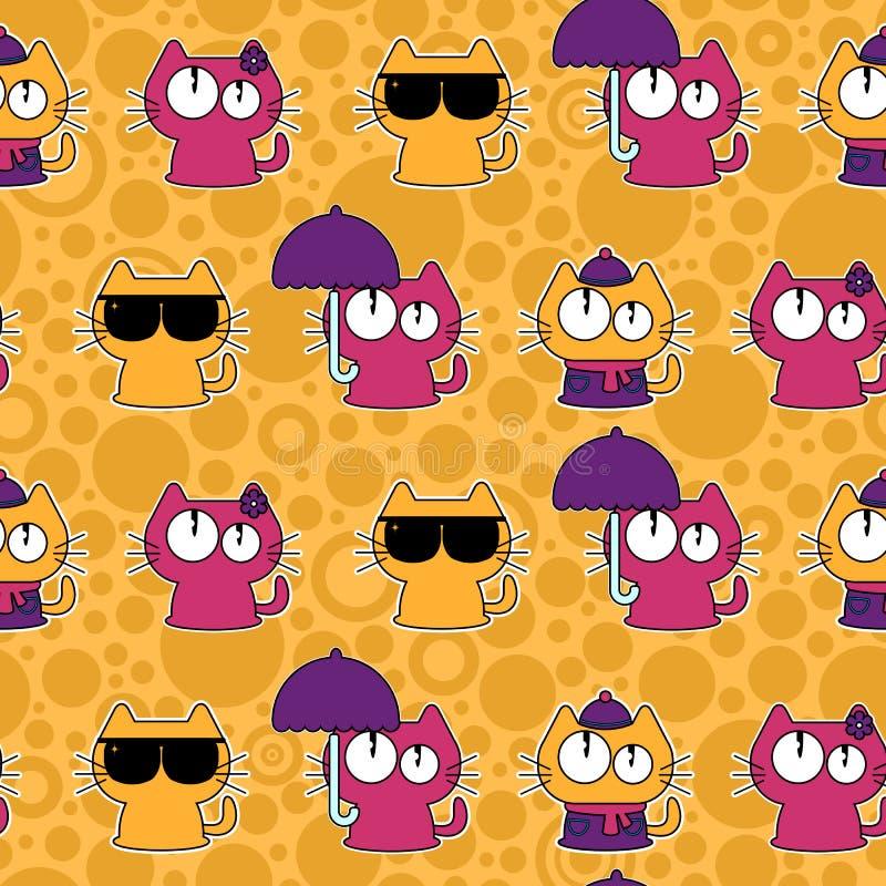 Naadloos patroon met grappige beeldverhaalkatten stock illustratie