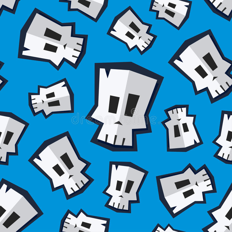 Naadloos patroon met grappige beeldverhaalschedel vector illustratie