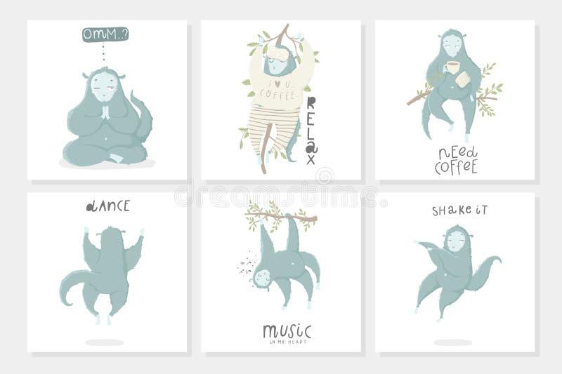 Naadloos patroon met grappige blauwe aap, hand getrokken illustraties royalty-vrije illustratie