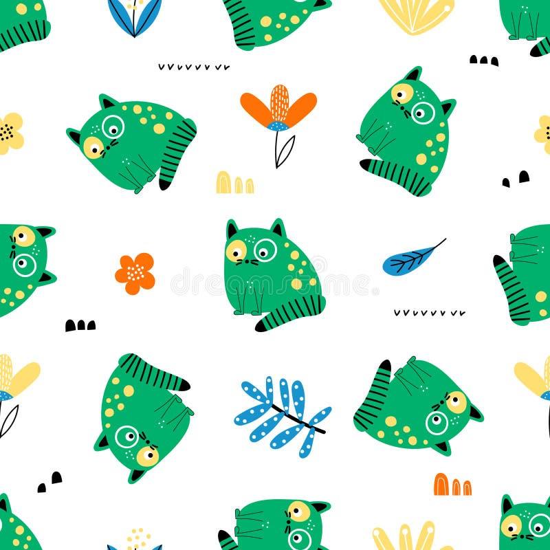 Naadloos patroon met grappige groene katten royalty-vrije illustratie