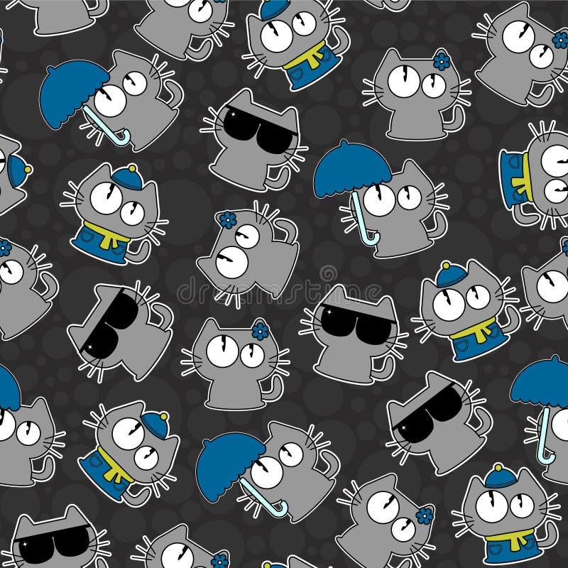 Naadloos patroon met grappige katten royalty-vrije illustratie