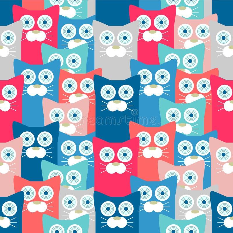 Naadloos patroon met grappige katten stock illustratie