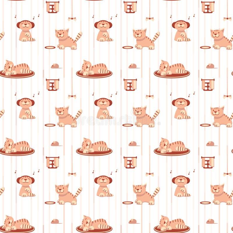 Naadloos patroon met grappige katten in vlakke stijl royalty-vrije illustratie
