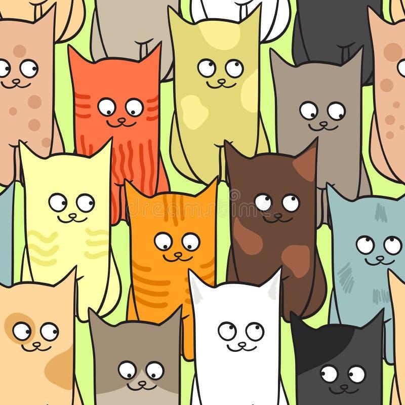Naadloos patroon met grappige kattenkleur stock illustratie