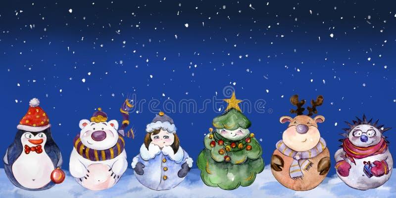 Naadloos patroon met grappige Kerstmiskarakters vector illustratie