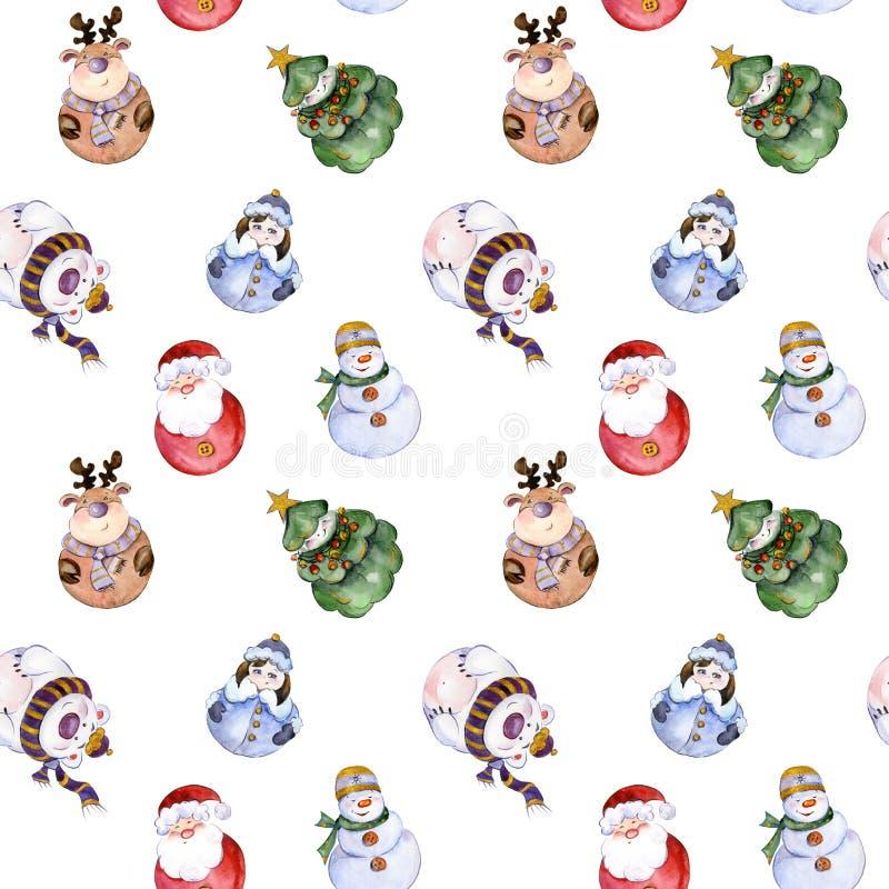 Naadloos patroon met grappige Kerstmiskarakters royalty-vrije illustratie
