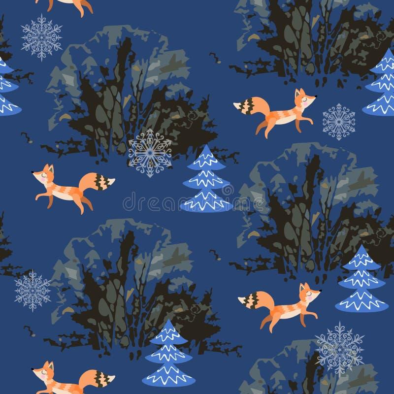 Naadloos patroon met grappige vossen in de winter bosdruk voor stof royalty-vrije illustratie