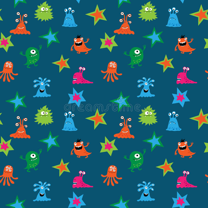 Naadloos patroon met grappige vreemdelingen en sterren royalty-vrije illustratie