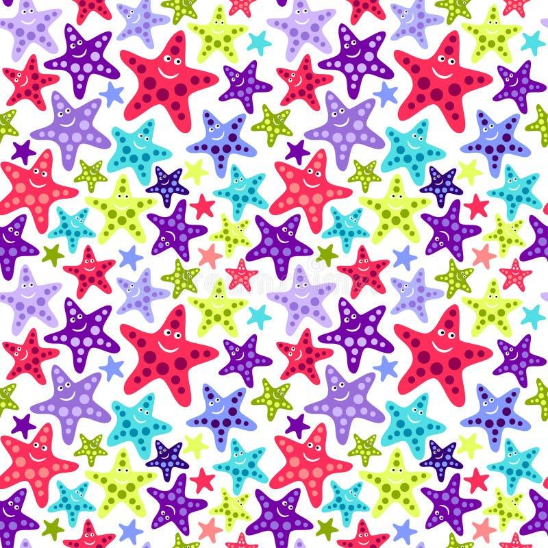 Naadloos patroon met grappige zeester stock illustratie