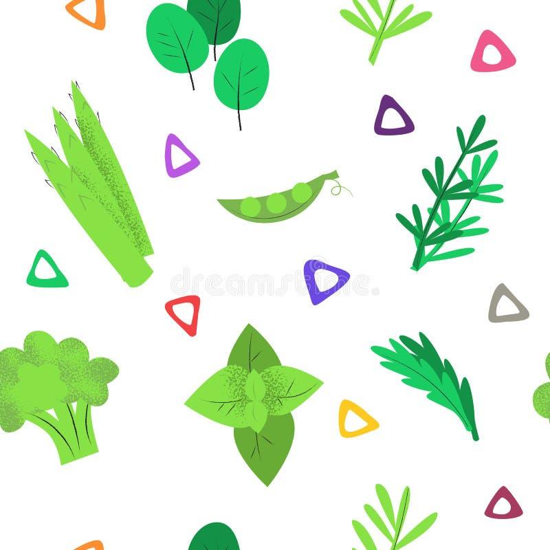 Naadloos patroon met groene kruiden op wit royalty-vrije illustratie